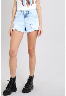ba0520912 ... Short Jeans Feminino Vintage Destroyed Com Faixa Lateral Azul Claro
