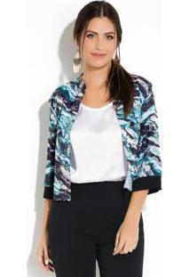 Jaqueta Quintess Marmorizado Azul Com Fenda