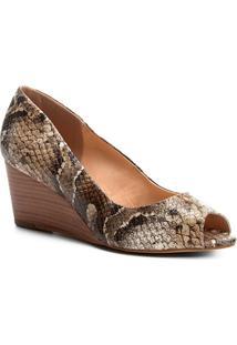 Peep Toe Shoestock Anabela Cobra - Feminino-Cobra