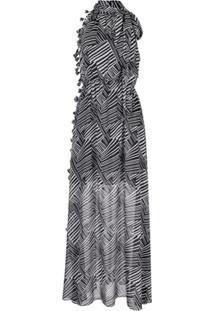 Sachin & Babi Vestido Longo Tatum Com Padronagem De Zebra - Preto