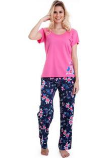 Pijama Longo Manga Curta Luna Cuore Feminino - Feminino-Rosa