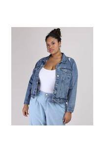 Jaqueta Jeans Feminina Plus Size Com Bolso E Recorte Azul Escuro
