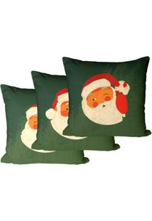 Kit 3 Capas Para Almofadas Decorativas Verde Natal 35X35Cm - Verde - Dafiti
