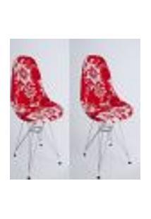 Kit Com 02 Capas Para Cadeira Charles Eames Eiffel Wood Floral Branco Com Vermelho