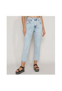 Calça Jeans Feminina Reta Cintura Super Alta Marmorizada Azul Claro