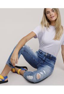 Calça Jeans Feminina Sawary Super Skinny 360 Cropped Cintura Alta Destroyed Com Barra Dobrada Azul Médio