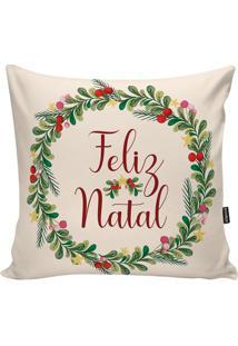 """Capa Para Almofada """"Feliz Natal""""- Off White & Verde-Stm Home"""
