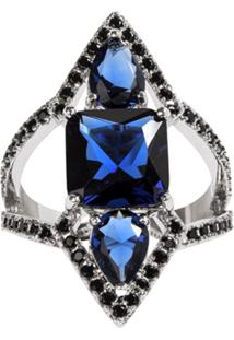 Anel Prin The Ring Boutique Pedras Cristais Azul Safira Ródio Ouro Branco - Kanui