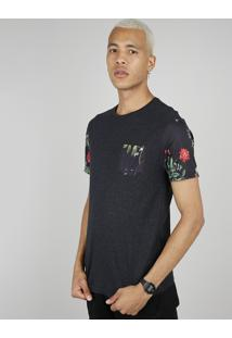 Camiseta Masculina Com Bolso E Manga Curta Estampados Floral Gola Careca Preta