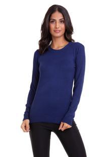 Suéter Kinara Tricot Gola Redonda Azul Marinho