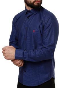 Camisa Manga Longa Masculina Elétron Azul Marinho