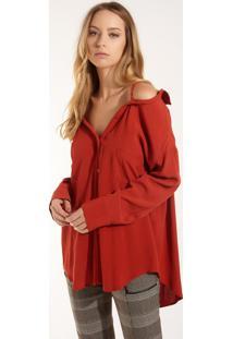 Camisa Rosa Chá Marina Laranja Feminina (Laranja Medio, M)