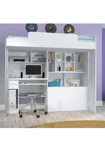 Módulo Office Teen Com Escrivaninha Lado Esquerdo Branco - Santos Andirá