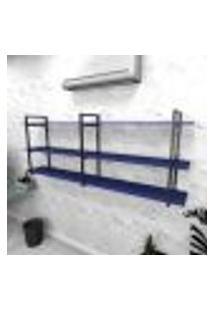 Estante Industrial Escritório Aço Cor Preto 180X30X68Cm (C)X(L)X(A) Cor Mdf Azul Modelo Ind33Azes