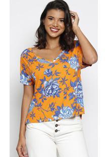 Blusa Floral Com Fendas - Laranja & Azul Escuro - Ththipton