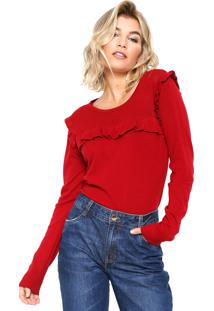 Suéter Facinelli By Mooncity Tricot Babados Vermelho