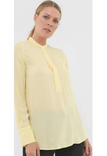 Camisa Seda Polo Ralph Lauren Botões Amarela