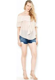 Blusa Ombro A Ombro Bege Blu22354 Bege
