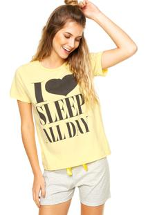 Pijama Malwee Liberta Love Listras Amarelo/Cinza