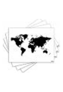 Jogo Americano - Mapa Mundi Com 4 Peças - 401Jo