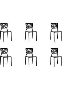 Kit 06 Cadeiras Melissa Preta Rivatti