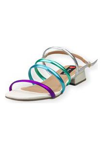 Sandália Saltinho Baixo Love Shoes Tiras Fashion Metalizadas Off White