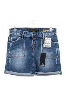 Bermuda Jeans Lado Avesso Relax Azul Tam. 42