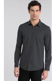 Camisa Slim Estampada Preta