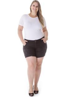 Shorts Jeans Plus Size - Confidencial Extra Jet Com Bordado Preto