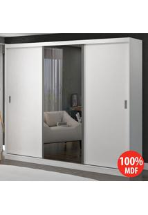 Guarda Roupa 3 Portas De Correr Com 1 Espelho 100% Mdf 1904E1 Branco - Foscarini