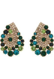 Brinco Gota Com Pedras Cristal Tudo Joias Folheado A Ouro 18K Com Zircônias - Feminino-Verde
