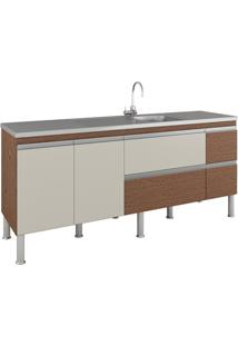 Gabinete Para Cozinha Prisma 86X194Cm Amêndoa E Off White