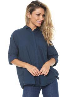 Camisa Cantão Ampla Lisa Azul-Marinho