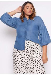 Camisa Almaria Plus Size Izzat Marignane Jeans Azu