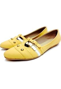 Sapatilha Comfort Bico Fino Buffone Comfort Tachas Amarelo