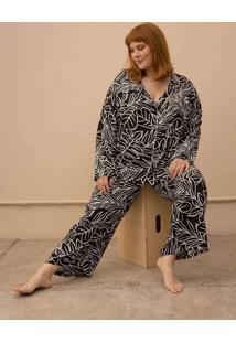 Pijama Clássico Folhagem Plus Size Preto-G Preto