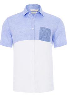 Camisa Masculina Manga Curta Bicolor - Azul