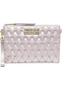 Versace Jeans Couture Metallc-Tone Studded Clutch Bag - Rosa