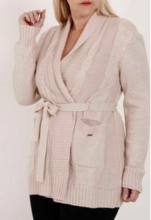 Cardigan Com Amarração Plus Size Feminino Bege