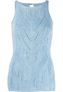 Ermanno Scervino Blusa De Tricô Com Tachas - Azul