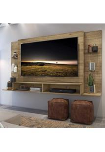 "Painel Tv 60"""" C/ Prateleiras De Vidro Nairóbi Multimóveis Rustic"