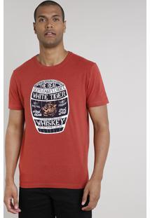"""Camiseta Masculina """"Whiskey"""" Manga Curta Gola Careca Cobre"""