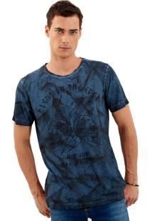 Camiseta John John Rx Edge Skulls Malha Estampado Masculina (Azul Marinho, M)