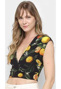 Blusa Top Cropped Colcci Estampada Feminina - Feminino-Estampado