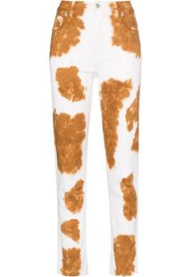 Eckhaus Latta Calça Jeans Reta Animal Print - Marrom