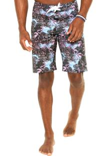Bermuda Água Quiksilver Python Jungle Bla Multicolorida