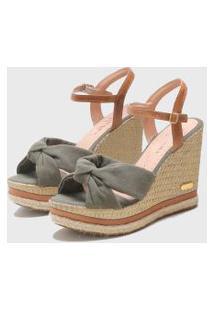 Sandália Sb Shoes Anabela Ref.3250 Militar/ Caramelo