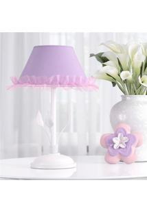 Abajur Infantil Menina Floral Monet Lilás Grão De Gente Roxo