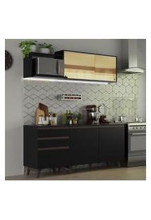 Cozinha Completa Madesa Reims 180001 Com Armário E Balcão Preto Cor:Preto