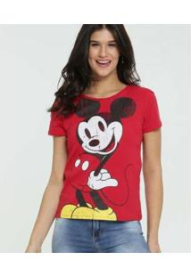 Blusa Disney Estampa Mickey Manga Curta Feminina - Feminino-Vermelho